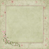 Pink pearl frame on floral background Stock Images