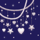 Pink pearl stars and hearts Royalty Free Stock Photos