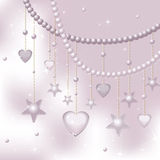 Pink pearls, stars and hearts on a light backgroun Stock Image