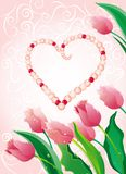 Pink pearls with tulips Royalty Free Stock Photo