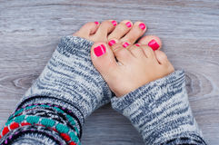 Pink pedicure Royalty Free Stock Photography