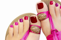 Pink pedicure. royalty free stock image