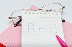 Pink pen notebook and glasses Royalty Free Stock Photo