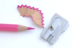 Pink pencil. Sharpener of metal and pink pencil Stock Images