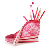Pink pencil case Royalty Free Stock Photo
