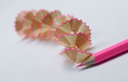 Pink pencil. Sharpened pink pencil with ruffles Royalty Free Stock Images
