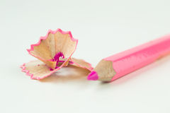 Pink pencil shavings  on a white background Royalty Free Stock Photography