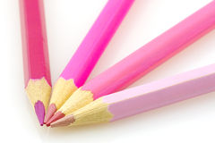 Pink pencils isolated. Variously tinted pink pencils on a white background Stock Photography