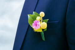 Pink peon boutonniere pinned to a grooms jacket Stock Photo