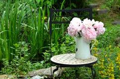 Pink peonies garden chair Stock Images