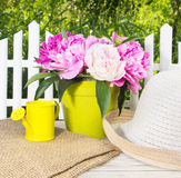 pink peonies and garden equipment Royalty Free Stock Image