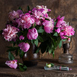 Pink peonies and  pack of dollars Stock Images