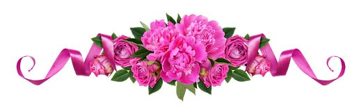 Pink peonies, rose flowers and satin ribbons in a line floral ar royalty free stock photos