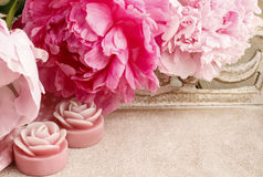 Pink peonies and scented candles on wooden tray Stock Image