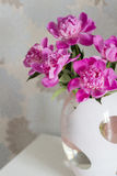 Pink peonies in vase. On white background Royalty Free Stock Photography