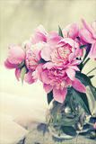 Pink peonies on wooden background - vintage photo Royalty Free Stock Photo