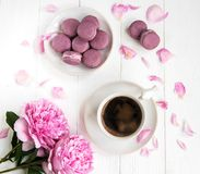 Pink peony with coffee and macarons. On a white wooden table Stock Image