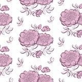 Pink peony floral sketch. Stock Photos