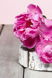 Pink peony flower on wooden table. Festive and party decoration Royalty Free Stock Photography