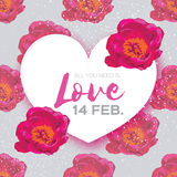 Pink Peony Flowers. Heart frame. 14 february. Happy valentines day Stock Photography