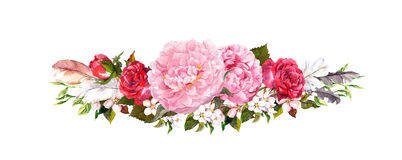 Pink peony flowers, roses and feathers. Watercolor in vintage style