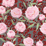 Pink peony flowers. Seamless floral pattern, ornate eastern decor. Watercolor Stock Photos