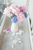 Pink peony and hyacinth Stock Photography