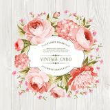 Pink peony label. Pink peony with a vintage label over wooden texture. Vector illustration Royalty Free Stock Photo