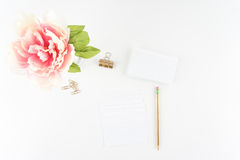 Pink Peony White Styled Desktop Index Cards Gold Pencil Clip  - Royalty Free Stock Image