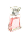 Pink perfume. Bottle of pink perfume. Isolation on white Stock Photo