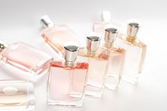 Pink perfume bottle. The set of step & repeat of perfume bottle Stock Photo