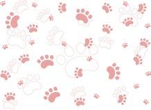 Pink Pet Paw Prints Stock Photo