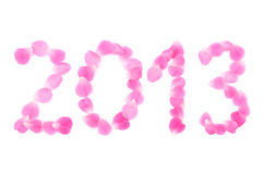Pink petals made 2013 Stock Photos