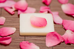 Pink petals and soap Royalty Free Stock Photography