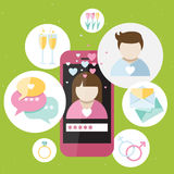 Pink phone with dating icons Royalty Free Stock Images
