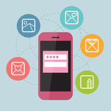 Pink phone with icons stock illustration