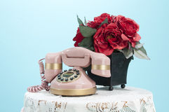 Pink Phone and Roses Stock Photography