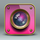 Pink Photo Camera Icon Stock Images