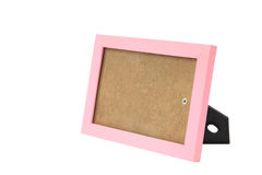 Pink picture frame or border with stand isolated on white Stock Photos