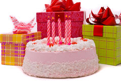 Pink Pie And Gifts Stock Image