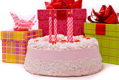 Pink Pie With Four Candles Royalty Free Stock Photography