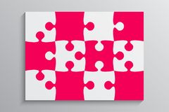 Pink Piece Puzzle Banner. 12 Step. Background. Pink Piece Puzzle Rectangle Banner. Puzzle Business Presentation. Rectangle Puzzle Infographic. 12 Step Process stock illustration