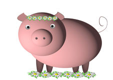 Pink pig. On a white background royalty free illustration