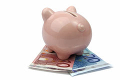 Pig bank from back side on euro banknotes Royalty Free Stock Photos