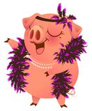 Pink pig in boa necklet sings karaoke. Isolated on white vector cartoon illustration Stock Images