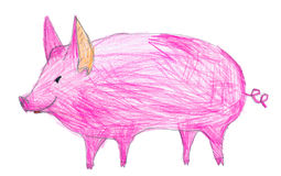 Pink pig. children pencil drawing Royalty Free Stock Photo