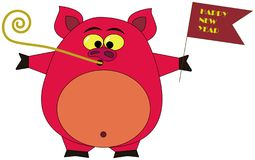 Pink pig with Chinese new year flag royalty free illustration