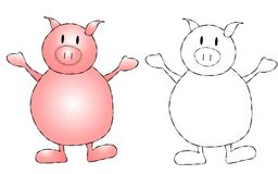 Pink Pig Clip Art Stock Image