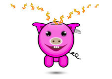 Pink pig with dollar sign falling inside, saving money concept Stock Photos