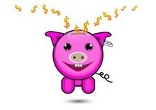 Pink pig with dollar sign falling inside, saving money concept Stock Photos